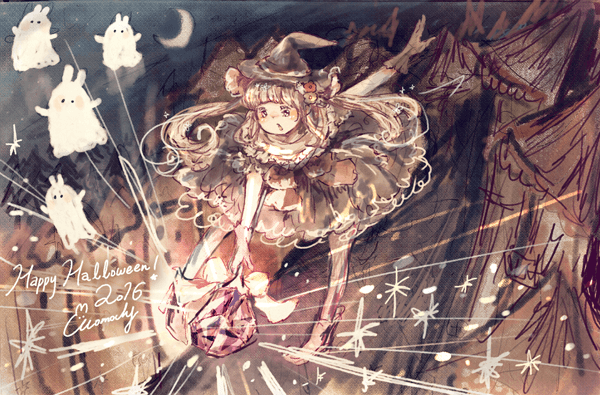ハロウィンフリーアイコン19*夜の魔女っこ