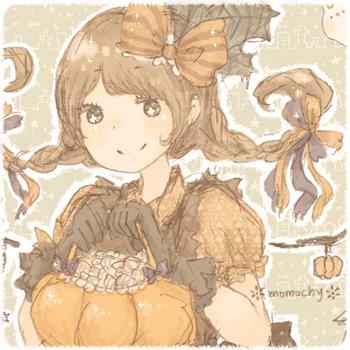 ハロウィンフリーアイコン3*かぼちゃドレスの女の子