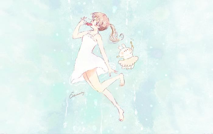 フリーアイコン*白ワンピースの女の子とアイス