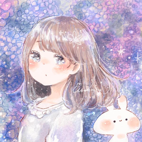 フリーアイコン紫陽花と女の子