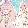 七夕フリーヘッダー4*雲の上の織姫と彦星