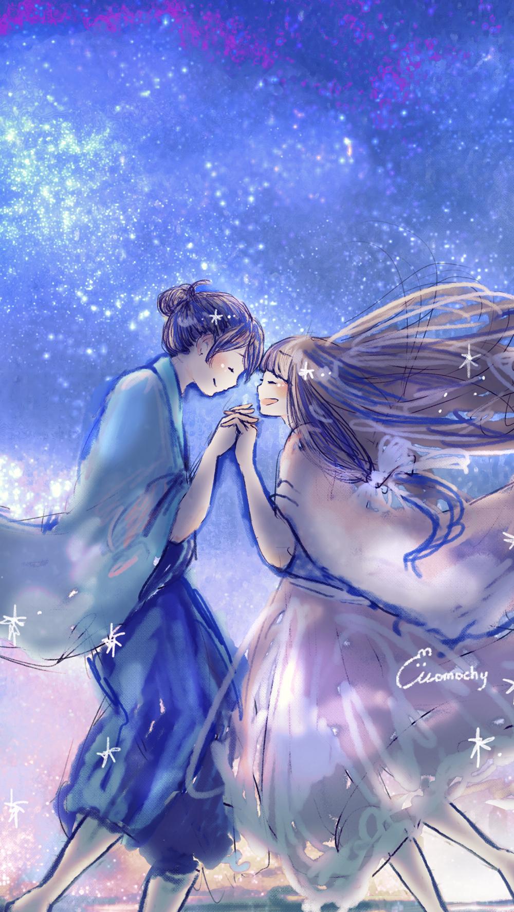 七夕LINEホーム画像2*星空の下の織姫と彦星