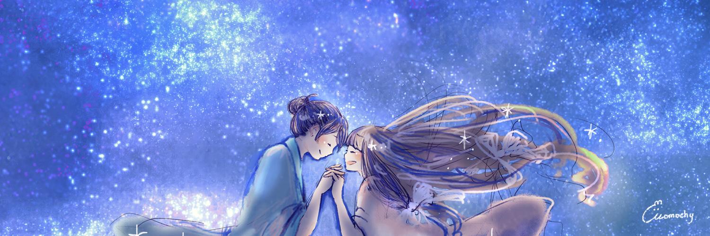 七夕フリーヘッダー2*星空の下の織姫と彦星