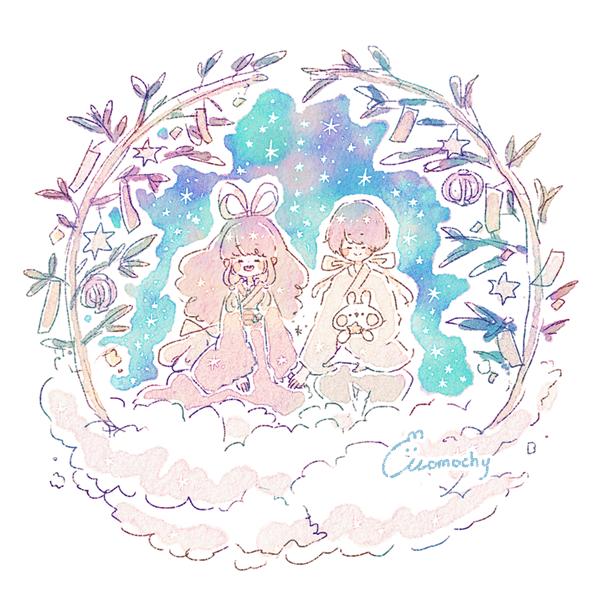 七夕フリーアイコン4*雲の上の織姫と彦星