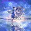 七夕フリーアイコン2*星空の下の織姫と彦星