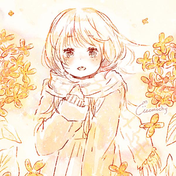 フリーアイコン*秋服の女の子と金木犀