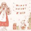 クリスマスフリーアイコン*9 ふわふわロングヘアの女の子とうさぎ