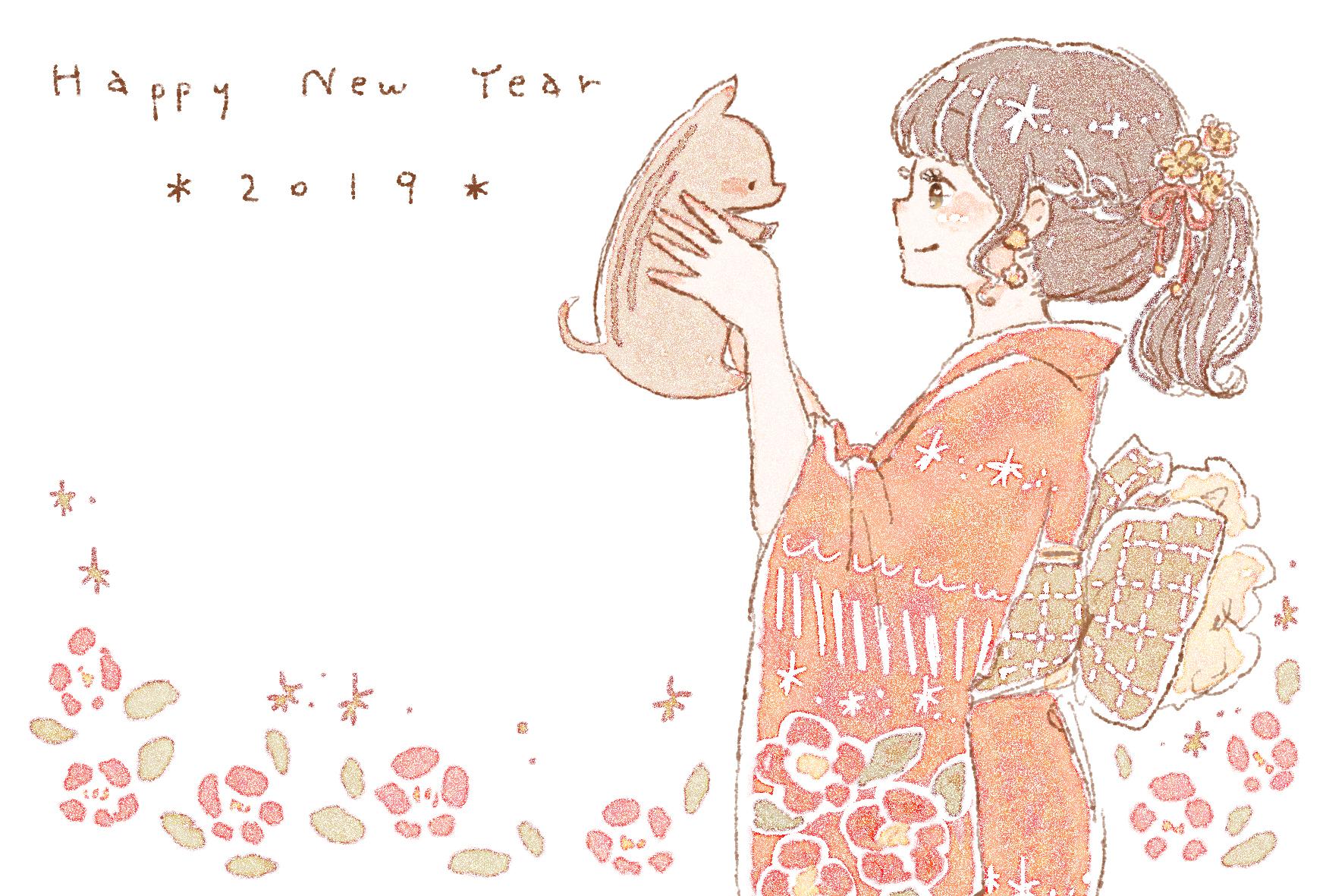 2019年 亥年おしゃれで可愛い年賀状デザイン無料配布2