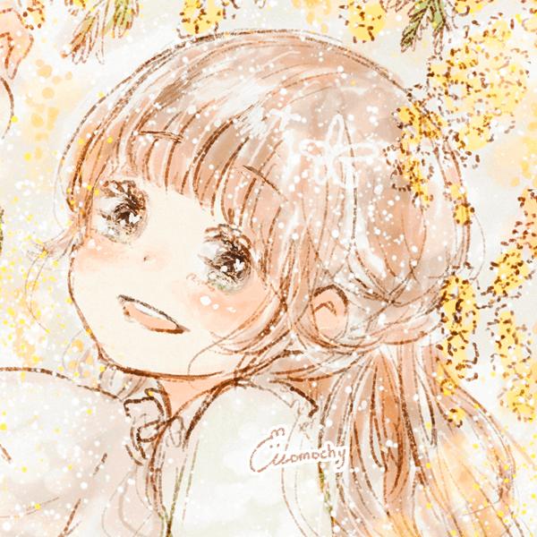 フリーアイコンロングヘアの女の子とミモザの木