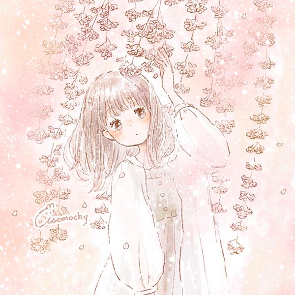 フリーアイコン*セミロングヘアの女の子と枝垂れ桜