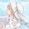 フリーアイコン*ネモフィラ畑と白ワンピの女の子
