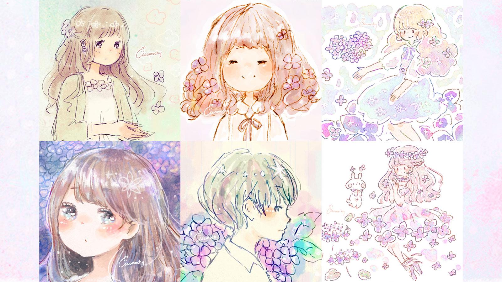 フリーアイコン*梅雨に使える紫陽花イラスト7枚まとめ