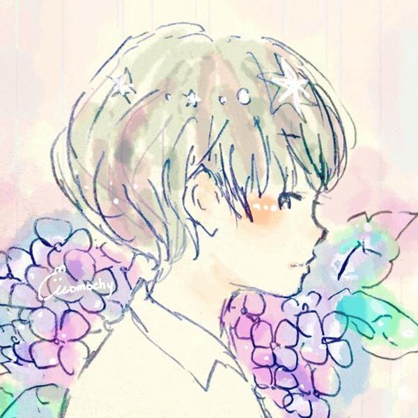 フリーアイコン*紫陽花と男の子の横顔