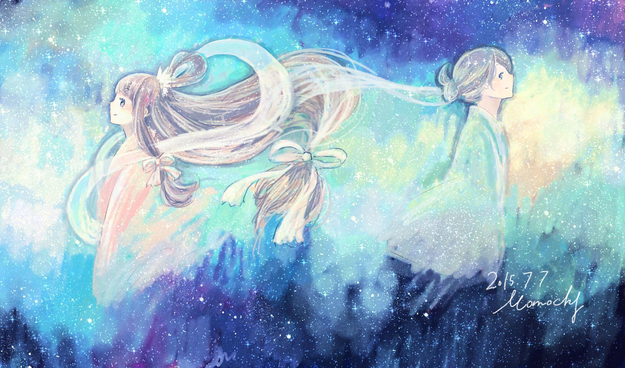 七夕フリーヘッダー2*織姫と彦星
