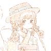 フリーアイコン*浴衣にカンカン帽の女の子