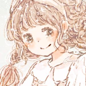フリーアイコン*コスモス(秋桜)と女の子のイラスト