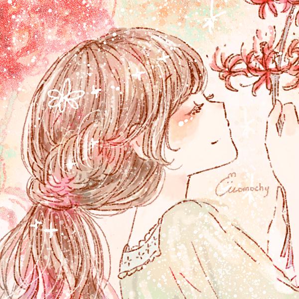 フリーアイコン*彼岸花(曼珠沙華)と女の子のイラスト