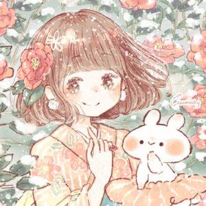 フリーアイコン*寒椿と女の子のイラスト