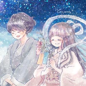 七夕フリーアイコン7*夜空の上の織姫と彦星