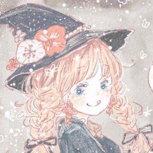 ハロウィンフリーアイコン22*三つ編み魔女っこ