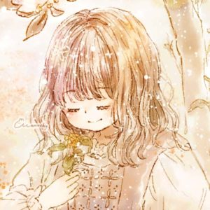 フリーアイコン*金木犀の木と女の子のイラスト