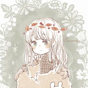 フリーアイコン*落ち葉のかんむりと秋服の女の子