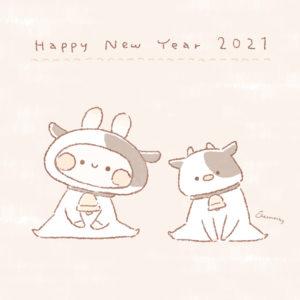 【2021年 丑年】おしゃれでかわいい年賀状デザイン無料配布❁1 牛の着ぐるみのうさぎと牛(縦)