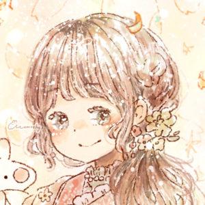 フリーアイコン*福寿草と着物の女の子のイラスト