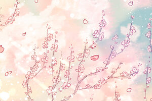 フリーヘッダー*梅の花とセミロングの女の子
