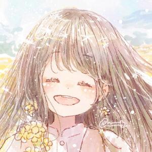 フリーアイコン*菜の花とロングの女の子のイラスト
