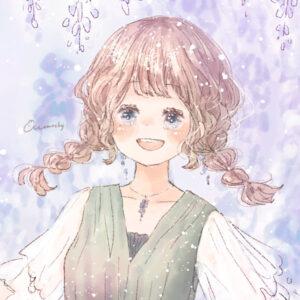 フリーアイコン*藤の花と三つ編みの女の子のイラスト