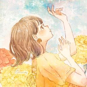 フリーアイコン*マリーゴールドの花と女の子のイラスト