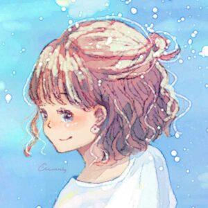 フリーアイコン*オシロイバナと女の子のイラスト